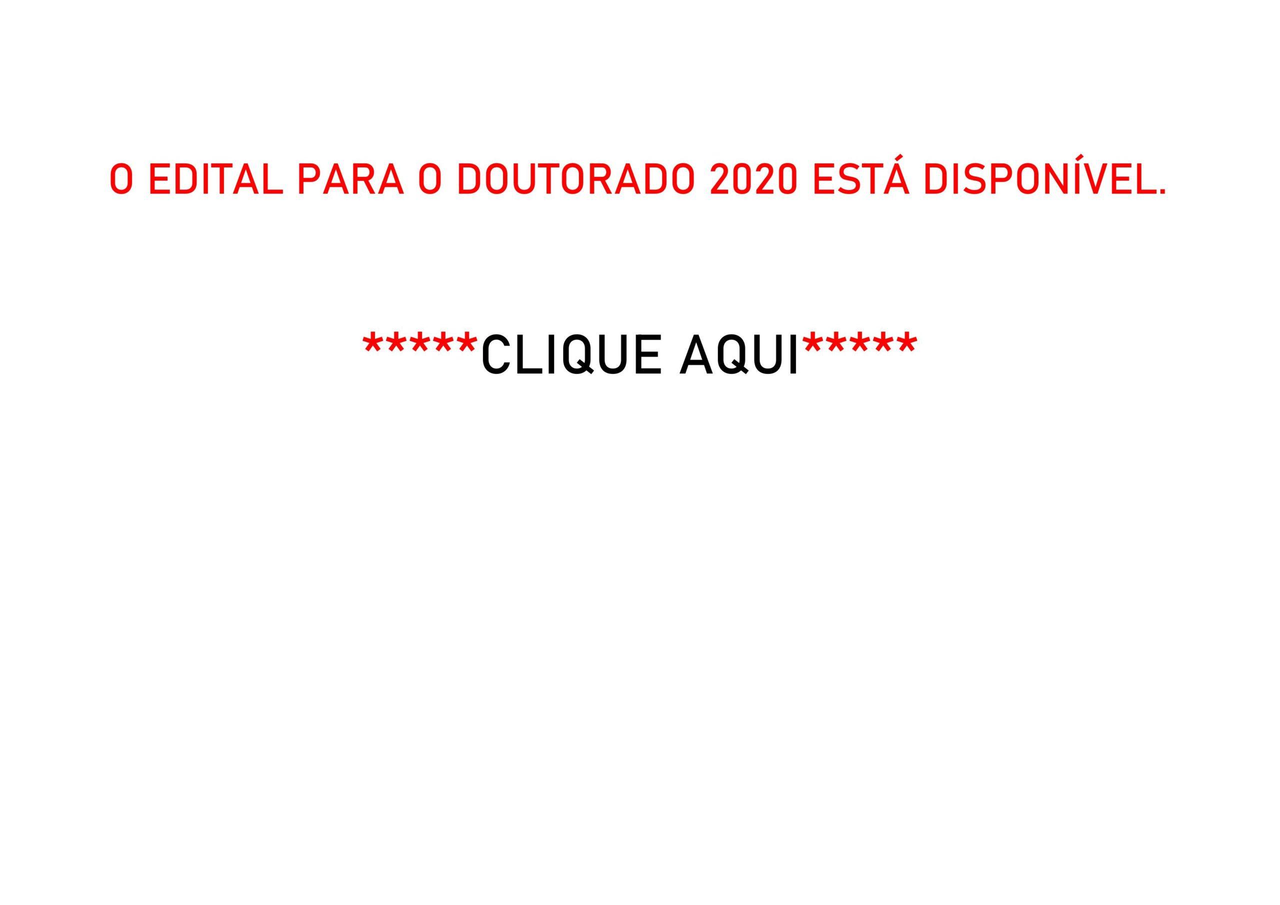 O Edital para o Doutorado 2020 está disponível.